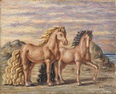 Giorgio de Chirico, Cavalli in riva al mare, 1932-33.  Courtesy Tornabuoni Art