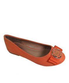 Take a look at this Orange Smiley Flat by Dotty Shoes on #zulily today!