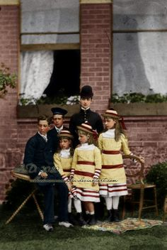 """Queen Alexandra of Great Britain, nee Princess of Denmark - """"The beautiful one"""", with children."""