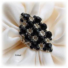 Elegante anello Cocktail nero/argento Art perline di Szikati