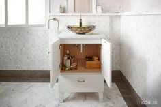 The Poplin vanity offers smart storage, ideal for smaller spaces.