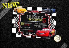COCHES 3 cumpleaños invitación 3 coches coches invitaciones