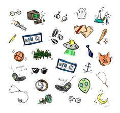 Spooky Doodles Art Print by thismockingbird Doodle Canvas, Doodle Art, Doodle Drawings, Easy Drawings, Aliens, Alien Life Forms, Tattoo Flash Art, Simple Doodles, Canvas Prints