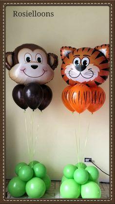 Cumpleaños animales de la selva Jungle Theme Parties, Jungle Theme Birthday, Safari Theme Party, Animal Birthday, 1st Boy Birthday, 1st Birthday Parties, Lion King Baby Shower, Baby Boy Shower, Animal Balloons