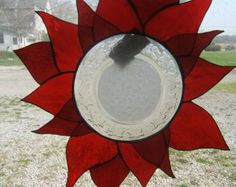 Items similar to Stained Glass Poinsettia with Crystal Plate on Etsy Mosaic Art, Mosaic Glass, Mosaic Tiles, Fused Glass, Mosaics, Stained Glass Flowers, Stained Glass Panels, Stained Glass Art, Stained Glass Projects