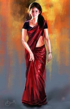 Digital Art by Kiran Kumar In Digital Paintings at touchtalent Indian Women Painting, Indian Art Paintings, Indian Artist, Girl Drawing Sketches, Pencil Art Drawings, Indian Drawing, India Art, Sari, Krishna Art