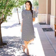 Stripe Scoop Hem Dress