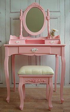 Prinzessinen Schminktisch in rosa mit Hocker Shabby French Frisiertisch Landhaus Handelskontor Jeanette Ahlring http://www.amazon.de/dp/B00HC9ZD0E/ref=cm_sw_r_pi_dp_p09Qub0NPM6PQ