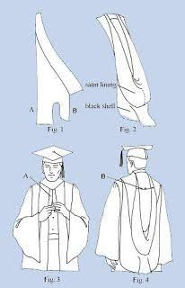DIY Graduation Reglia Gown and Phd Hood: Hood Construction drafting the pattern and making the muslim Graduation Hood, Graduation Regalia, Graduation Attire, Graduation Stole, Graduation Diy, Doctoral Gown, Doctoral Regalia, Knitting Patterns Free, Sewing Patterns