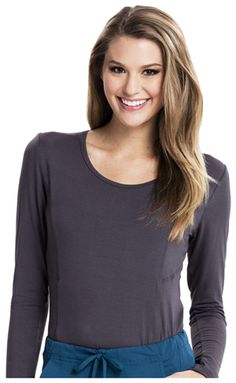 Long Sleeve Knit Tee in Pewter from The Uniform Outlet