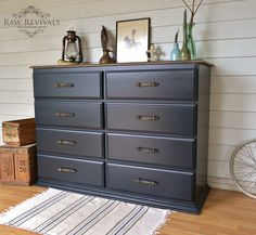 Large Midnight Blue Chest of Drawers with Timber Top and Brass Handles