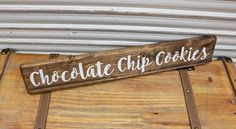 "FOLLOW ME ON INSTAGRAM @tinsheepshop.  Chocolate Chip Cookies Wood Sign, Kitchen Wooden Sign, 20.5"" Farmhouse Style, Cookies Rustic Distressed Sign, Shabby Chic Sign, Bakery Decor by TinSheepShop on Etsy"