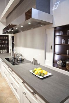 """""""neolith Basalt Grey"""" with white cabinets -- from kitchen matrix at design center Gray Kitchen Countertops, Oak Kitchen Cabinets, Kitchen Redo, Kitchen Flooring, Kitchen And Bath, New Kitchen, Kitchen Dining, Kitchen Remodel, White Cabinets"""