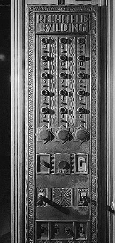 """Another look at the long-gone and much-lamented Richfield Oil Building in downtown Los Angeles that was erected in 1929 and razed in 1969. This is the floor selector inside the elevator. Isn't this the coolest thing? I remember older buildings in downtown Phoenix having elevator panels like this when I was a child. I thought they were wonderful then, and think they are still wonderful today. """"Sabotage at RKO Studio,"""" a James Murray Mystery, by Christopher Geoffrey McPherson."""