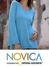 Alpaca blend sweater, 'Sky Blue Charisma' at The Hunger Site