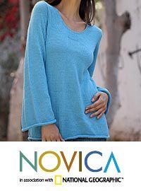 Alpaca blend sweater, 'Sky Blue Charisma' at The Rainforest Site <3