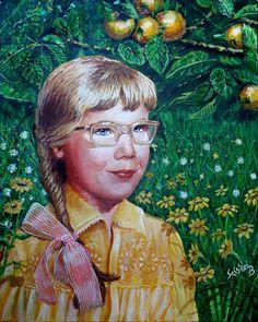 Lány sárga margarétákkal  50×40 cm (Miskei Béla)