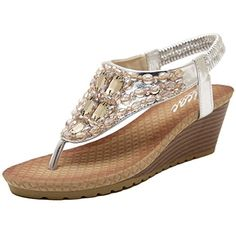 41af9bd7b10c Harshion Pu Leather Rhinestone Crystals Flip Flops Sandals Wedges Heels  Slip on Roman Beach Shoes (US 7   EU Silver) ( Partner Link)