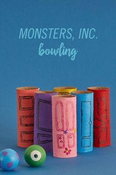 This DIY kid-friendly bowling uses toilet paper rolls to help Mike and Sulley get their scare game rolling, and conquer each of the 'Monsters, Inc. Craft Activities, Preschool Crafts, Disney Activities, Disney Games, Daycare Crafts, Disney Diy, Disney Crafts, Disney Pixar, Monster Party