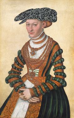 LUCAS CRANACH (1472 - 1553) A Lady in a green velvet and orange dress and a pearl-embroidered black hat - 1541.