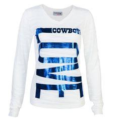34a5a4198 Dallas Cowboys Women s Goldspier Burnout V-Neck Long Sleeve T-Shirt - White