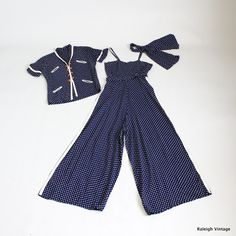 Beach Pajamas made of navy rayon with white stars with a white crepe trim. The matching over-jacket has toggle-style wooden buttons. And a matching neck scarf (or headscarf). -- cute idea for summer wear. 1930s Fashion, Retro Fashion, Vintage Fashion, Womens Fashion, High Fashion, Vintage Magazine, Vintage Swimsuits, Jumpsuit Pattern, Nautical Fashion