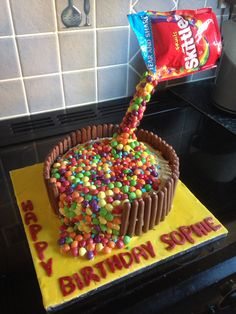 Anti-gravity skittle cake. Skittles, nerds and chocolate fingers!