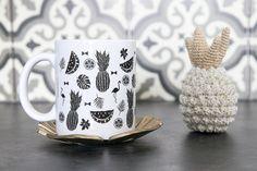 Le Mug tendance Tropicale, Mug été en noir et blanc