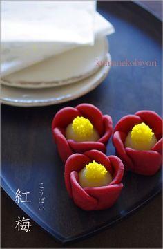 nerikiri(ume) Japanese Treats, Japanese Cake, Japanese Food, Dessert Chef, Dessert Recipes, Eclairs, Japanese Pastries, Japanese Wagashi, Food Garnishes