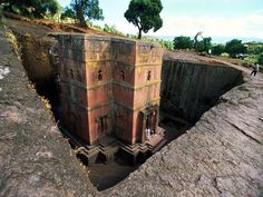 stone church Ethiopia - It is thought that Saint King Lalibela created these in the 12 th-13th century in an attempt to rebuild old Jerusalem. Labiela is one of Ethiopia's holiest cities. ...Quite amazing!