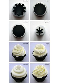 Cup cake icing - nozzle types and examples