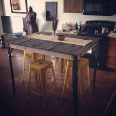 Pallet wood high top dining table by The a Birch & Bennett Co