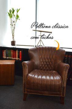 Poltrona clássica e atemporal no nosso projeto de escritório de advocacia.