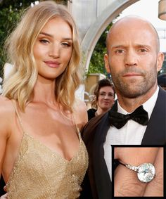 The Most Breathtaking Celebrity Engagement Rings - Rosie Huntington-Whiteley and Jason Statham - from InStyle.com