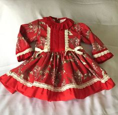 baby girl toddler red flowers christmas dress  handmade by pitufos