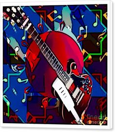 Modern Abstract Canvas Print featuring the digital art Guitar At Hand by Caroline Gilmore