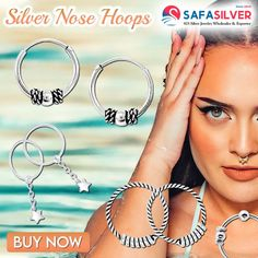 Wholesale silver jewelry Supplier of Wholesale silver nose hoops from Thailand, At safasilver.com the most affordable ones are priced under a dollar, while the premium ones under $15 #silver #nose #hoops #jewelry #handmade #nosering #nosepiercing #piercings #pierced #septum #fashion #accessories #sterlingsilver #style #jewelryaddict Wholesale Silver Jewelry, Nose Jewelry, Nose Hoop, Piercings, Jewelry Design, Hoop Earrings, Sterling Silver, Septum, Thailand