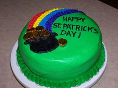 St. Patrick's Day Cake - This was a vanilla cake colored green with green vanilla pudding filling.  The gold is Hershey kisses.  Just something fun for St. Patrick's Day.