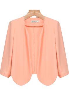 Pink Long Sleeve Crop Chiffon Outerwear - Sheinside.com
