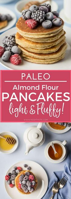 These are quite simply the best, fluffiest, lightest healthy Paleo Pancakes you'll try! Made with Almond flour and tapioca starch they are a great breakfast recipe! | gluten free pancakes, refined sugar free