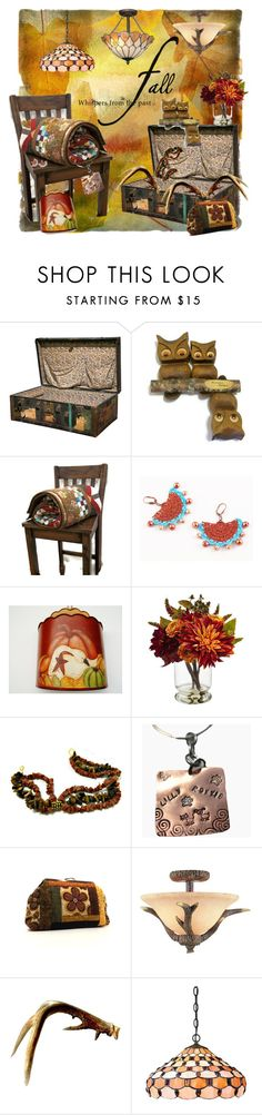 """Attic Treasures"" by tol-n-tique ❤ liked on Polyvore featuring interior, interiors, interior design, home, home decor, interior decorating, Nearly Natural, Trans Globe Lighting and Dale Tiffany"