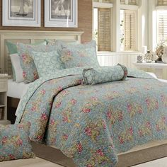 Cozy Line Home Fashions Floral Paisley Quilt Bedding Set, French Country Vintage Blue Pink Flower COTTON Reversible Coverlet Bedspread, Gifts for women (Grey Blue Floral, Queen - 3 piece) Best Quilted Comforter, Set USA King Quilt Bedding, Duvet, Queen Quilt, Queen Size Bedding, Comforter Sets, Classic Bedding Sets, Bath, Quilt Sets, Bed Spreads