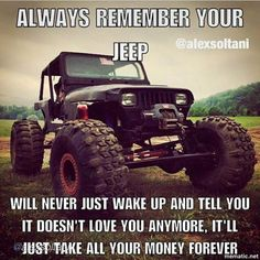Jeeps and Jeep Girls. Some pics and vids are my personal ones, but most pics are from the net so if its yours or copyrighted let me know and it will be removed. Jeep Wrangler Sport Unlimited, Jeep Wrangler Yj, Jeep Tj, Jeep Rubicon, Jeep Truck, Jeep Jokes, Jeep Humor, Car Jokes, Truck Memes