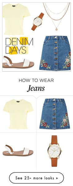 """Jeans Please"" by hmtrillo on Polyvore featuring Miss Selfridge, Topshop, Luv Aj, Steve Madden and denimskirts"