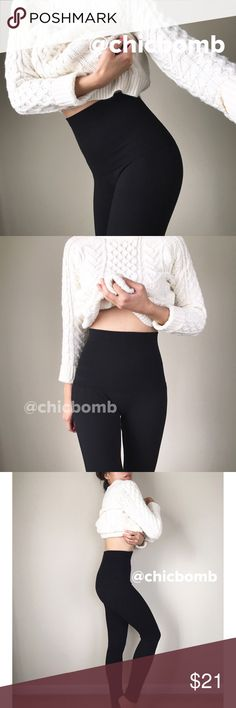 "Tummy control shaping legging. Well made top quality Thick  tummy hourglass high waist contouring leggings.  Keep u warm too. Amazing must have. Length 37.5""  inseam 26"" waist 18"" hips 23"" Waistband 18"" waist and height 7.75"" Fabric viscose , polyblend ,spandex. Fleece lined. Price low to sell. PRICE IS FIRM unless bundle for discount. CHICBOMB BOUTIQUE Pants Leggings"
