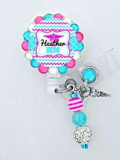 E04 Personalized Rhinestone Nurse Badge ID Reel Medical- Can put any Title Retractable ID Badge Reel