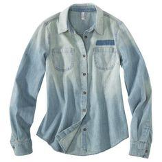 Xhilaration® Juniors Long Sleeve Denim Shirt - Medium Vintage Wash