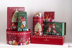 JUCHHEIM - Christmas packaging by madalina andronic, via Behance Christmas Hamper, Christmas Sweets, Christmas Themes, Christmas Decorations, Xmas, Christmas Patterns, Gift Box Design, Diy Design, Switzerland Christmas