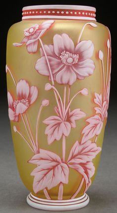 Thomas Webb Three Color Cameo Glass Vase.