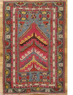"Kirsehir prayer rug,Central Anatolia,circa 1880.Measurements of the piece:5'.0""x3'.5"" (152x104 cm). | Hagop Manoyan, New York"